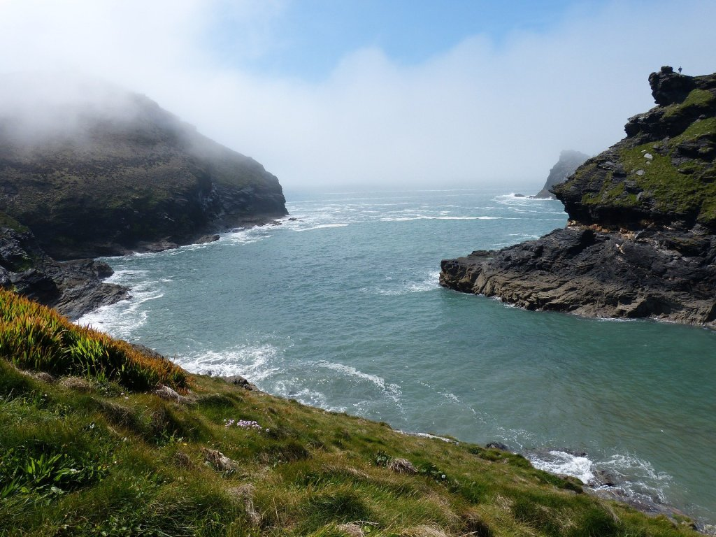 The sea crashing against cliff at Boscastle, Cornwall